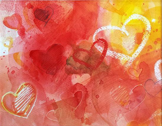 Herzbild-Aquarell: Von Herzen, Poster mit Herzen, Leinwandbild mit Herz