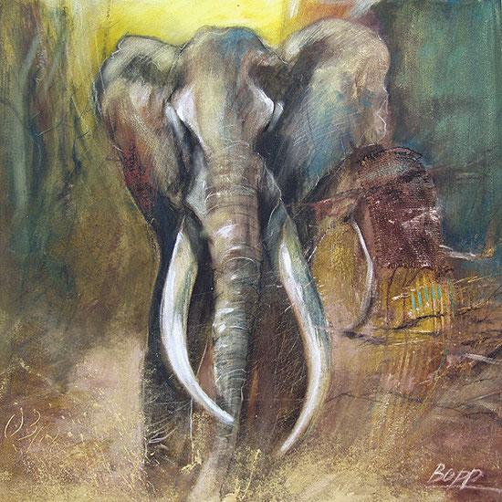Elefant / Element Erde, Krafttier, Leinwandbild, Kunstdruck, Poster