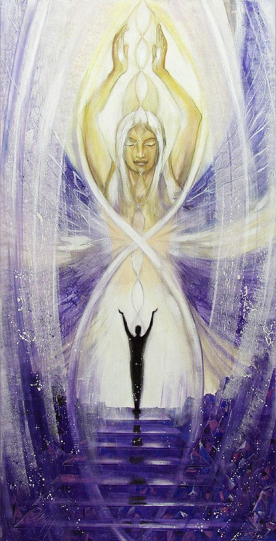 Spirituelle Wandbilder für große Räume Seraphim Kristallengel, Lichttor zur Weisheit Gottes auf Leinwand