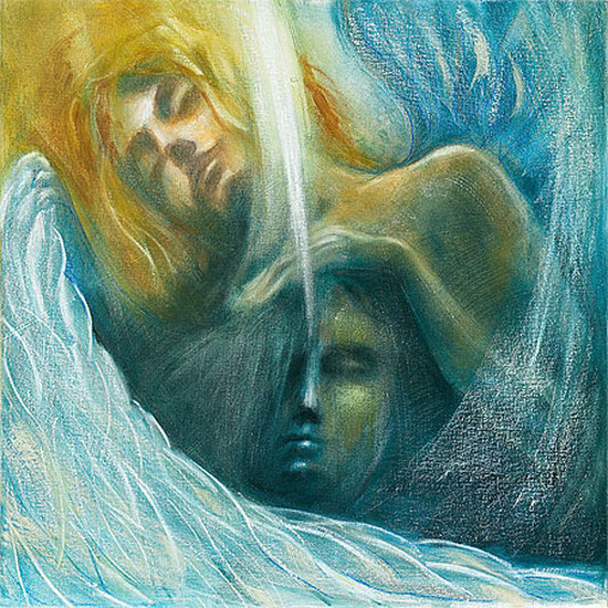 Engelbilder gemalt, Engel der Reinigung / Element Wasser, spirituelle Bilder, Kunstdrucke, Poster