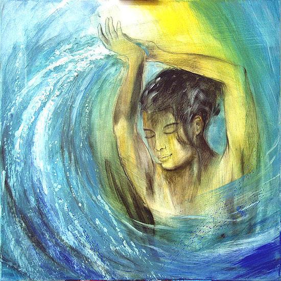 Wasser ist Leben / Element Wasser, Leinwandbild, Kunstdruck, Poster