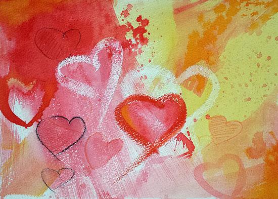 Herzbild-Aquarell: Herzliche Grüße, Poster mit Herzen, Leinwandbild mit Herz