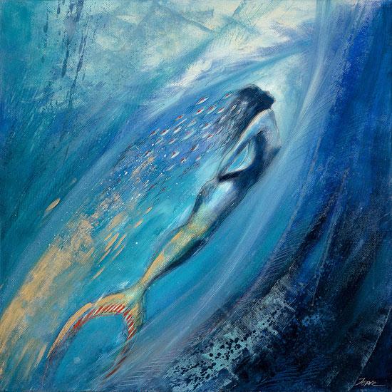 Nixe / Meerjungfrau / Element Wasser, Leinwandbild, Kunstdruck, Poster