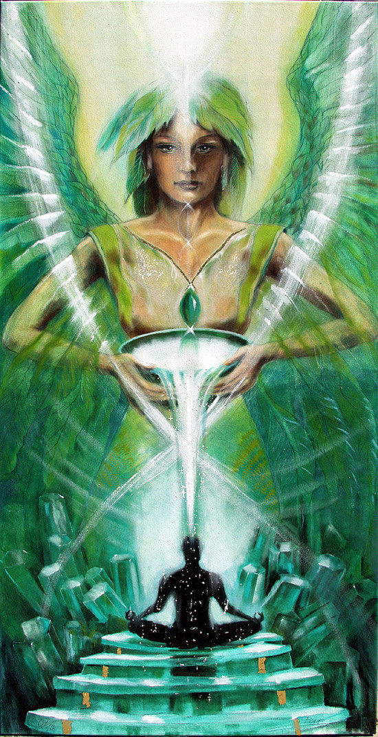 Große Engelbilder, Seraphim Kristallengel, Lichttor zur Gnade Gottes, Leinwandbild, Kunstdruck
