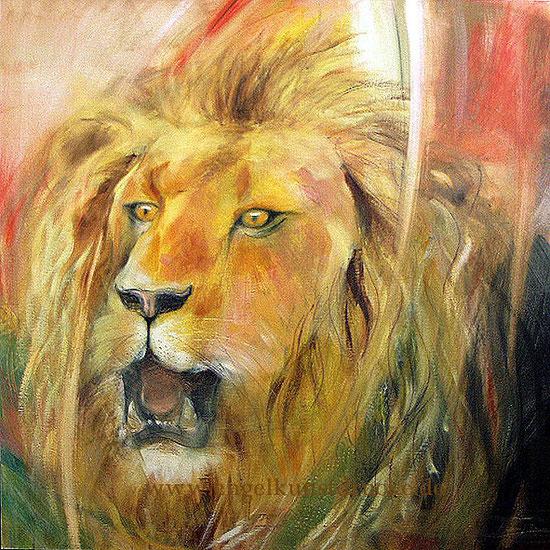 Krafttier Löwe, Leinwandbild, Poster, Kunstdruck, gemalt,