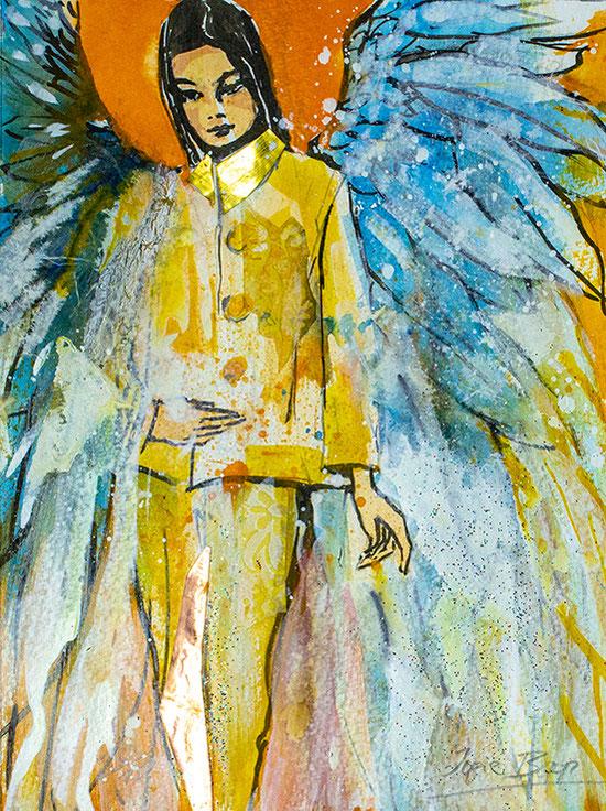 """Engelbilder """"Folge Deinem Bauchgefühl"""", Leinwandbild, Kunstdruck, Poster, gemalt von Jopie Bopp"""