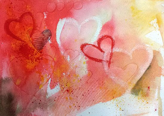 Herzbild-Aquarell: Herzenswunsch, Poster mit Herzen, Leinwandbild mit Herz
