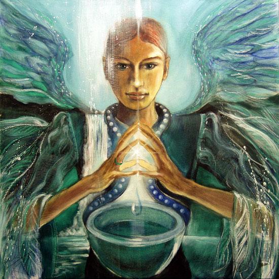 Engelbild der Heilung,  Erzengel Remiel, Engel der Heilung, spirituelle Malerei, Leinwandbild, Poster