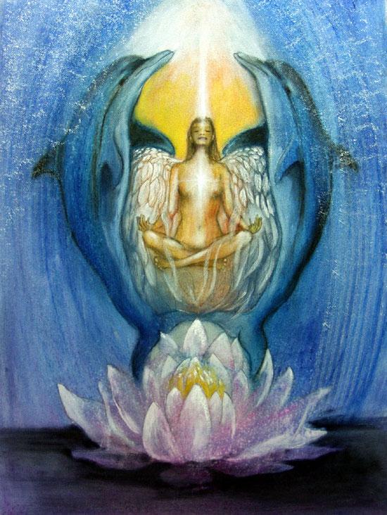 Göttin der Delphine Leinwandbild spirituell