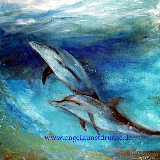 Delphine 2 / Element Wasser, Krafttier, Kunstdruck, Leinwandbild, Poster