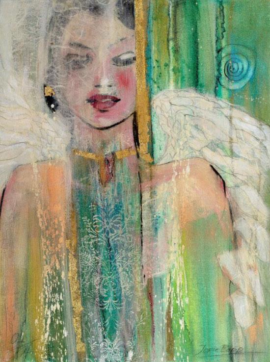 Engelbilder, Engel des Morgens, Leinwandbild, Kunstdruck, Poster, gemalt von Jopie Bopp