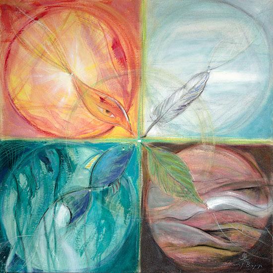 Kreis der 4 Elemente Leinwandbild