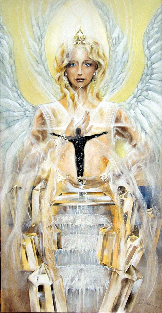 Seraphim Kristallengel, Lichttor zur Liebe Gottes, Leinwandbild, Kunstdruck, Poster