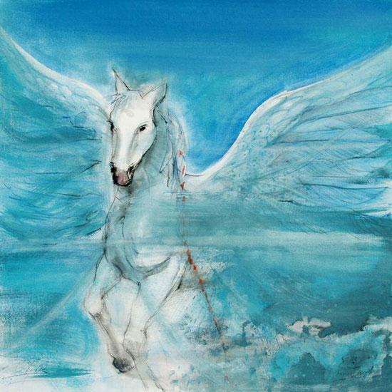 Pegasus / Element Luft, Krafttier, Leinwandbild, Poster, Kunstdruck