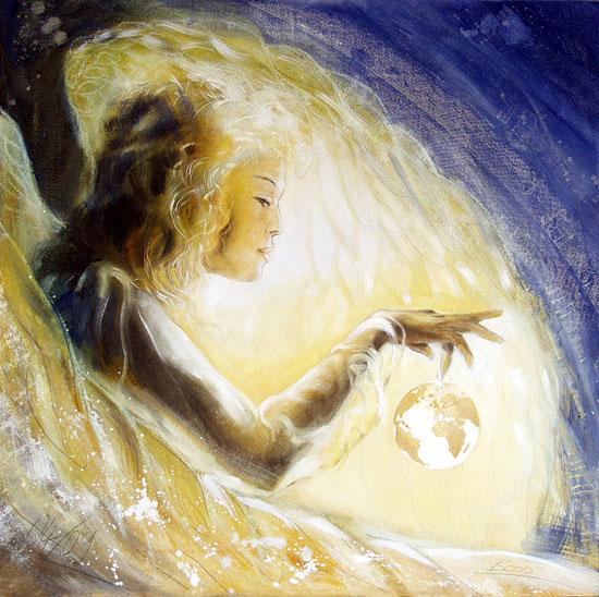 Erzengel Gabriel, Engelbilder, spirituelle Malerei, Leinwandbilder, Poster, Wandbild, Liebe