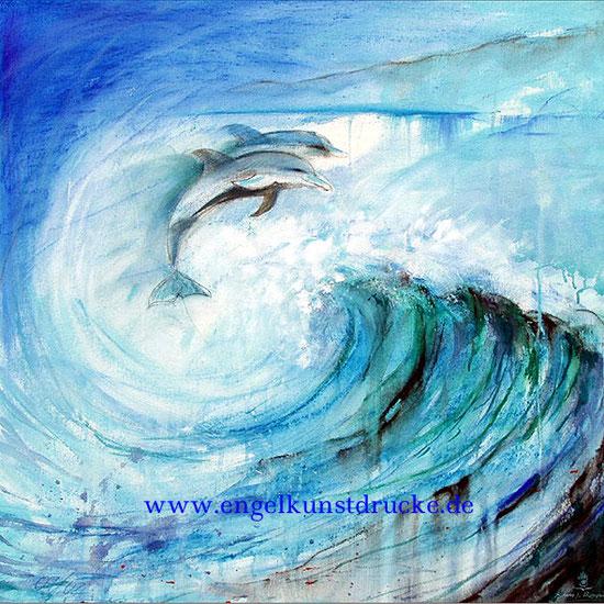 Delphine 1 / Element Wasser, Krafttier, Leinwandbild, Poster, Kunstdruck