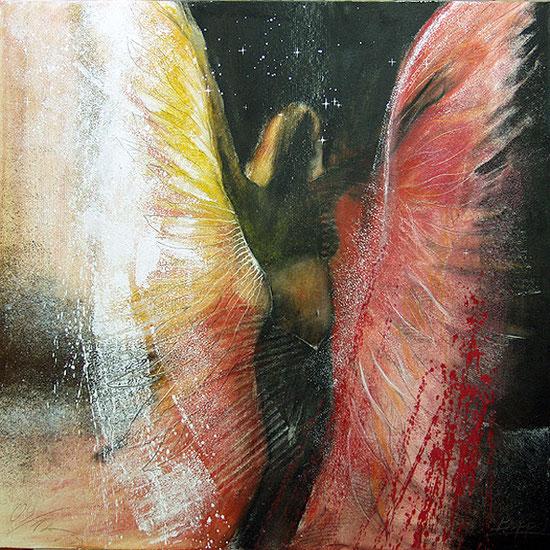 Engelbilder Tanzender Engel, gemalt von Jopie Bopp, Leinwandbild, Kunstdruck, Poster