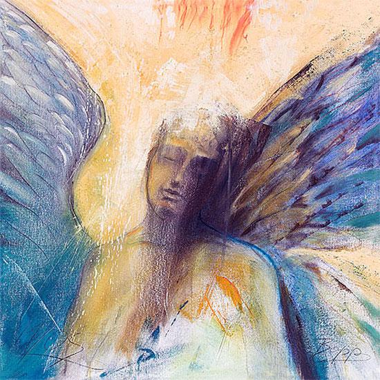 Meditationsbilder gemalt, Engel der Stille, spirituelle Leinwandbilder, Poster, Kunstdrucke