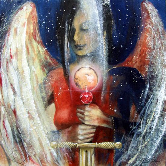 Engelbilder, Erzengel Michael, spirituelle Malerei, Leinwanddrucke, Poster, Wandbilder, Mut