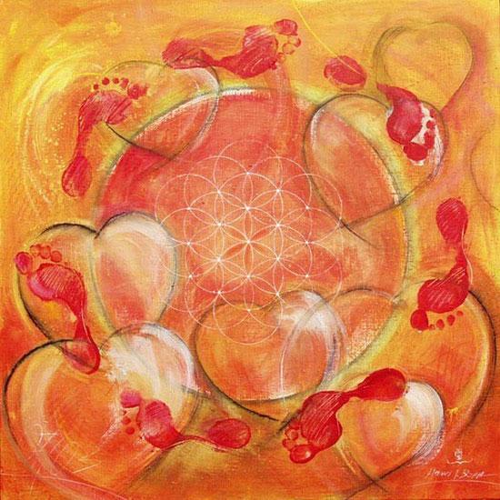 Herzbild Kreislauf Blume des Lebens