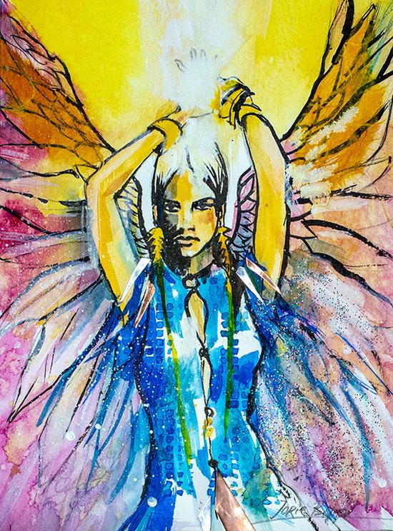 """Engelbild """"Folge Deinem höheren Selbst"""", Leinwandbild, Kunstdruck, Poster, gemalt von Jopie Bopp"""