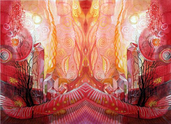 Farbenergie rot Spiegelbild