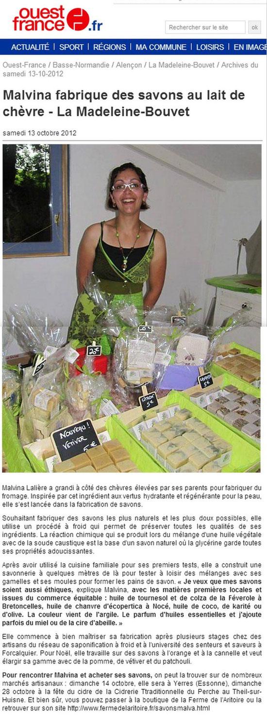 Savon Malva - Article Ouest-France octobre 2012