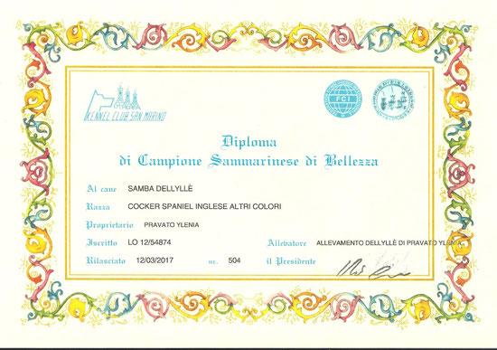 Diploma di Campionessa della Samba Dellyllè