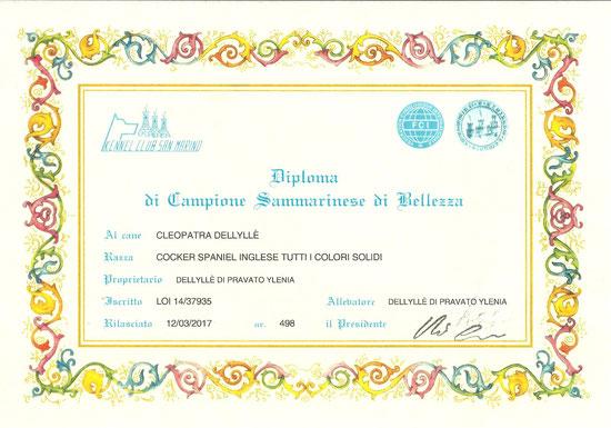 Diploma di Campionessa di San Marino di Cleopatra Dellyllè