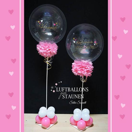 Luftballon Ballon Bubble Wunschbubble Ständer Kommunion Konfirmation Firmung Jugendweihe Geschenk Geschenkballon Deko Dekoration Überraschung Paket Box Pompom Pommel Blume mit Beschriftung personalsiert