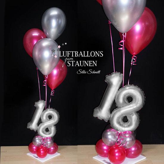 Geburtstagszahl mit Helium-Luftballon Bouquet und Rose Ballon Folienballon Konfetti Zahl elegant edel runder Geburtstag Geschenk  Happy Birthday runder 60 18 20 30 40 50 70 80 90 pink rosa