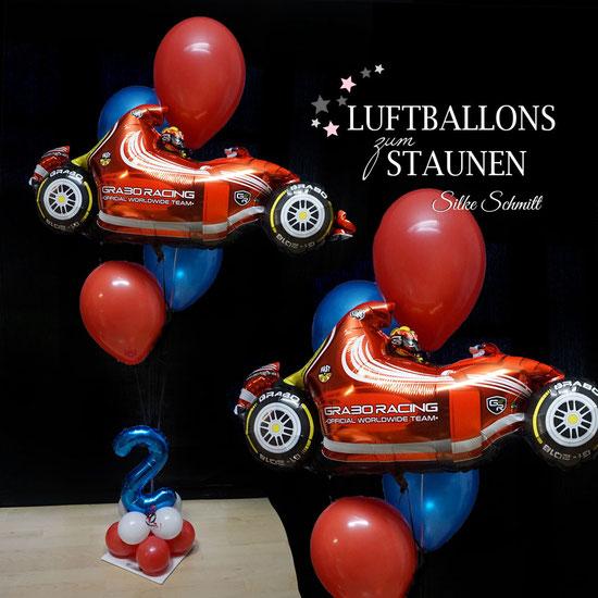 Ballon Luftballon Heliumballon Ballonversand Versand Ballongruß Ballonbox Box Geburtstag Geschenk Mitbringsel Deko Dekoration Kindergeburtstag Formel Eins 1 Rennwagen Auto Party Kinderparty Überraschung