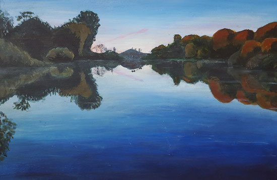 """Fonthill Lake in an Autumn Evening"" 30.5 x 45.5cm acrylic on cradled board. 2017"