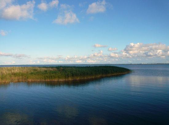 Boddenmeer im Sommer vom Althäger Hafen aus gesehen