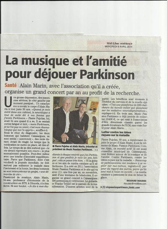 ARTICLE MIDI LIBRE A L'OCCASION DE LA JOURNEE MONDIALE PARKINSON