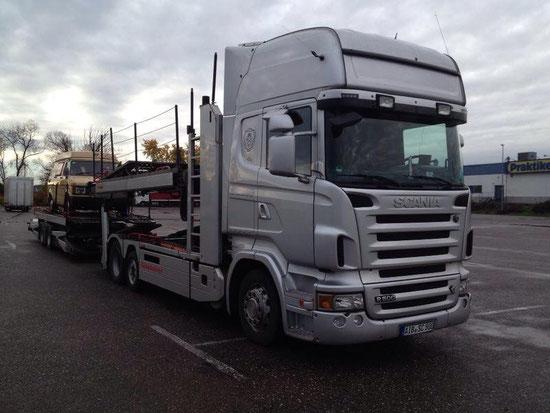 Scania R500 V8, Einzeltransporte, Sammeltransporte, Autotransport Italien