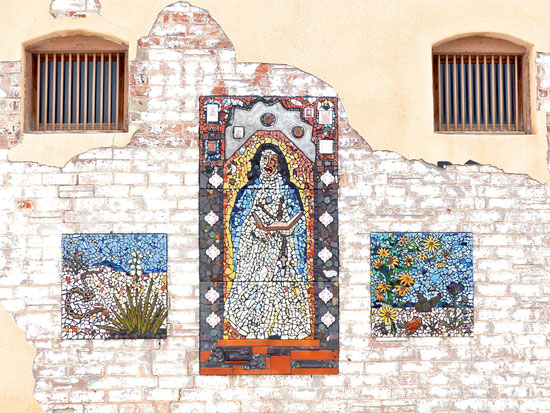 Tilework on the side of a building in Mountainair