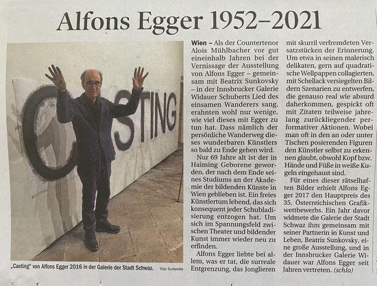 Alfons Egger, Tiroler Tageszeitung 05.07.2021, Text: Edith Schlocker
