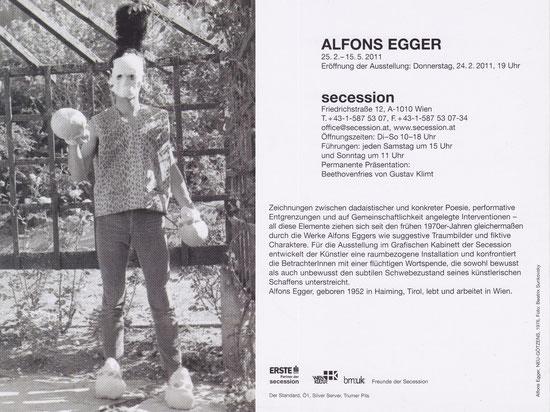 Alfons Egger Secession Einladung 2011 Foto: Beatrix Sunkovsky 1976