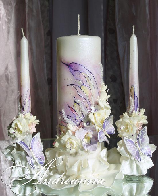 свечи «Порхающие бабочки».  Роспись, цветы/бабочки ручной работы. Стоимость 700грн.