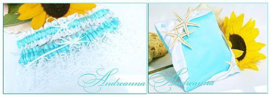 Набор подвязок «Остров сокровищ» бело-бирюзовые с морскими звездами (в любом желаемом цвете), стоимость набора подвязок 250грн 32$;