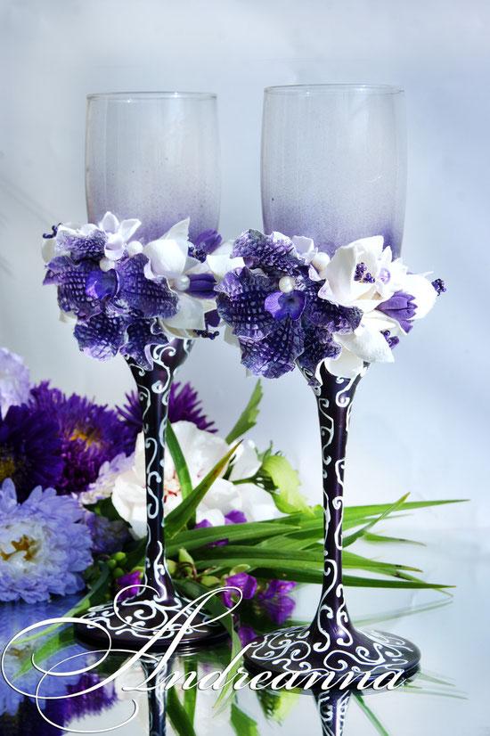 Сиреневые бокалы «Орхидея Ванды» стоимость 800грн (выполняются в любом цветовом решение).