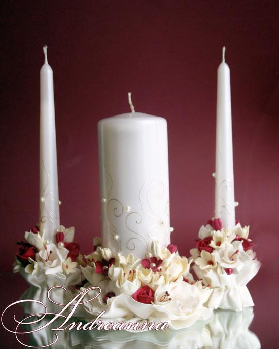Свадебные свечи «бордовая фрезия гардения и роза», на перламутрово-жемчужном фоне, стоимость 650грн набор, (в любом оттенке).