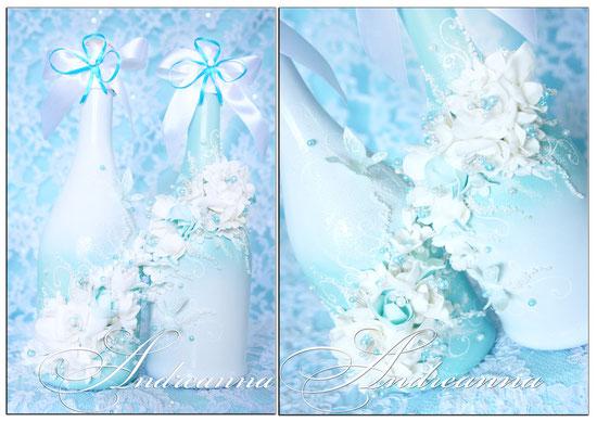Шампанское «Бирюзовая фрезия и гардения Butterflies DUOS» Выполняется в любом цветовом решение. Стоимость 700 грн. 1 бут.