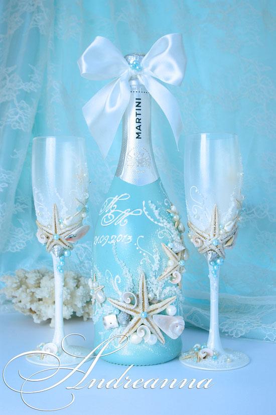 """Свадебное шампанское «""""Сокровища морей""""», бирюзовый фон, инициалы,  Стоимость 650грн."""