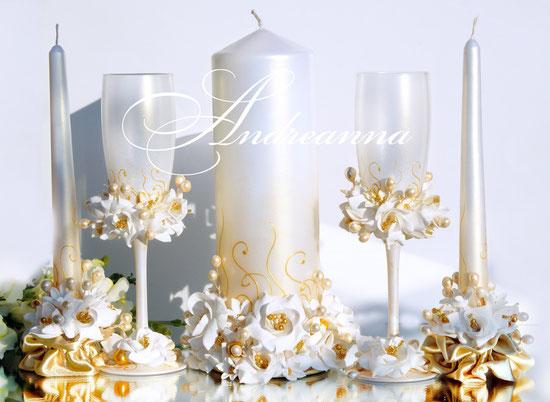 Свадебные свечи «Золотая фрезия и гардения», на перламутрово-золотом фоне, стоимость 650грн набор, (в любом оттенке).