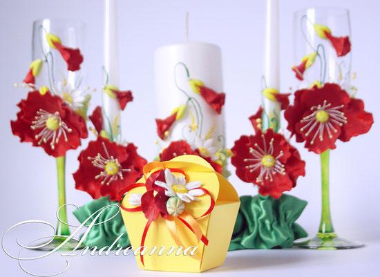 Бонбоньерка «Алый мак» цветочки полностью ручной работы (возможно изготовление с желаемыми цветами, в любом цветовом решение). Размер бонбоньерки 5х8см. Стоимость 20грн/шт.