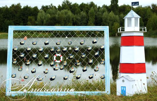 План рассадки в «морских сетях». Морская декоративная сетка, именные кораблики, состаренная деревянная рама. Размер 120х85см, стоимость 700грн.