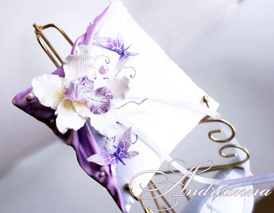 Подушечка для колец «орхидея Butterflies в цвете фуксия»,стоимость 450грн