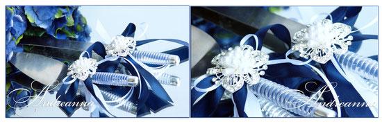Украшение для лопатки и ножа «Снежная королева» с синими бантами (пряжки могут отличаться от заявленных на сайте, это обусловлено их наличием) . Стоимость 200грн